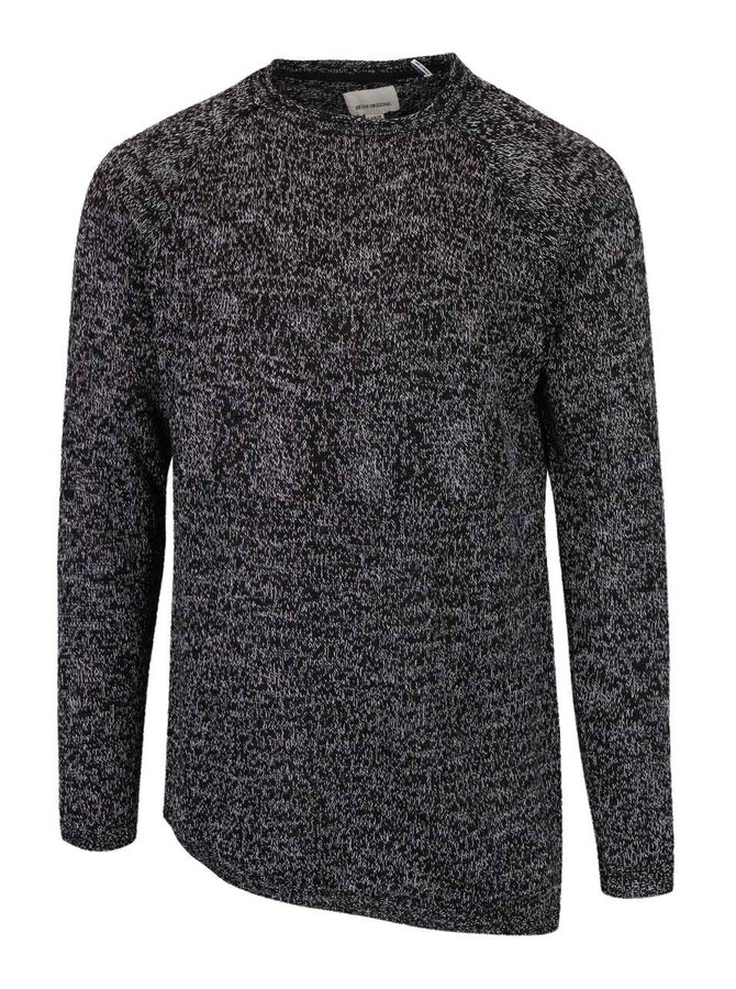 Pulover negru & gri Shine Original cu croi asimetric și model discret