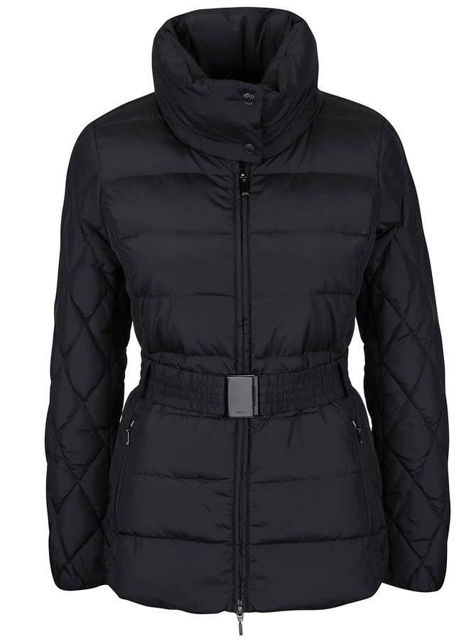 Čierna dámska dlhšia bunda s opaskom Geox