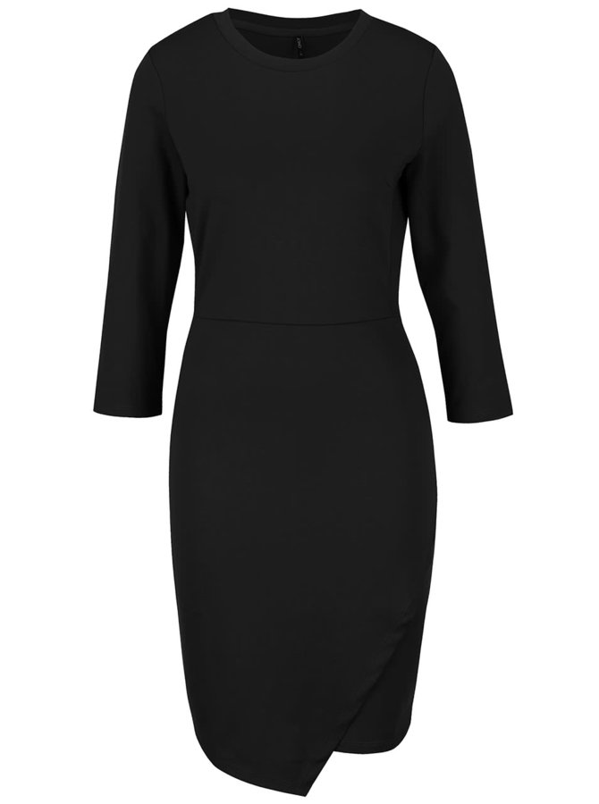 Čierne úpletové šaty s 3/4 rukávmi ONLY Sandra