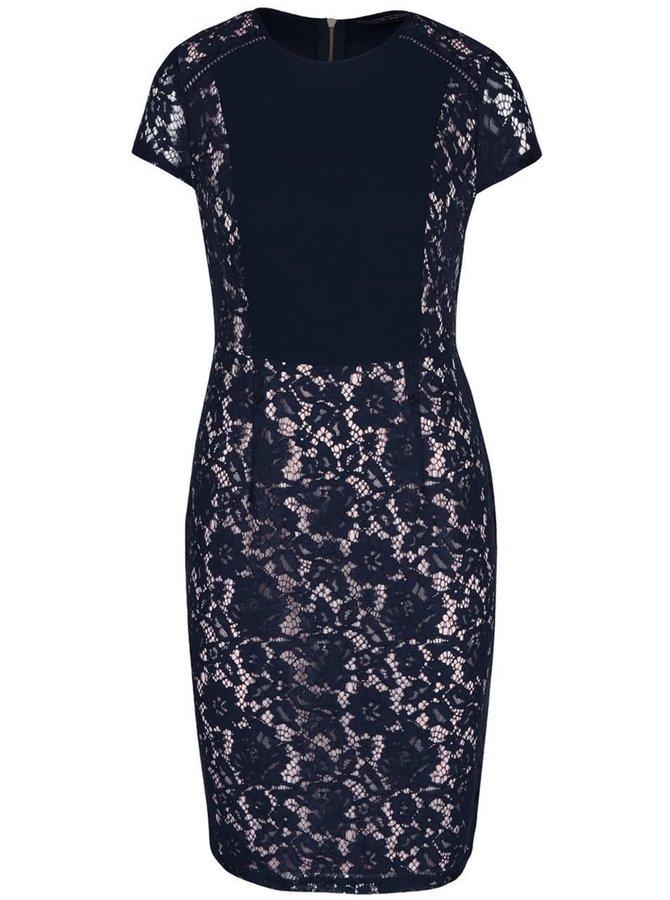 Tmavě modré krajkované šaty s krátkým rukávem Dorothy Perkins