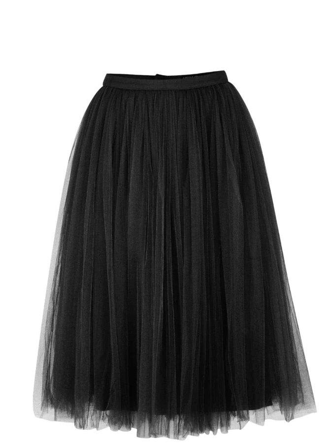 Čierna tylová midi sukňa Little Mistress