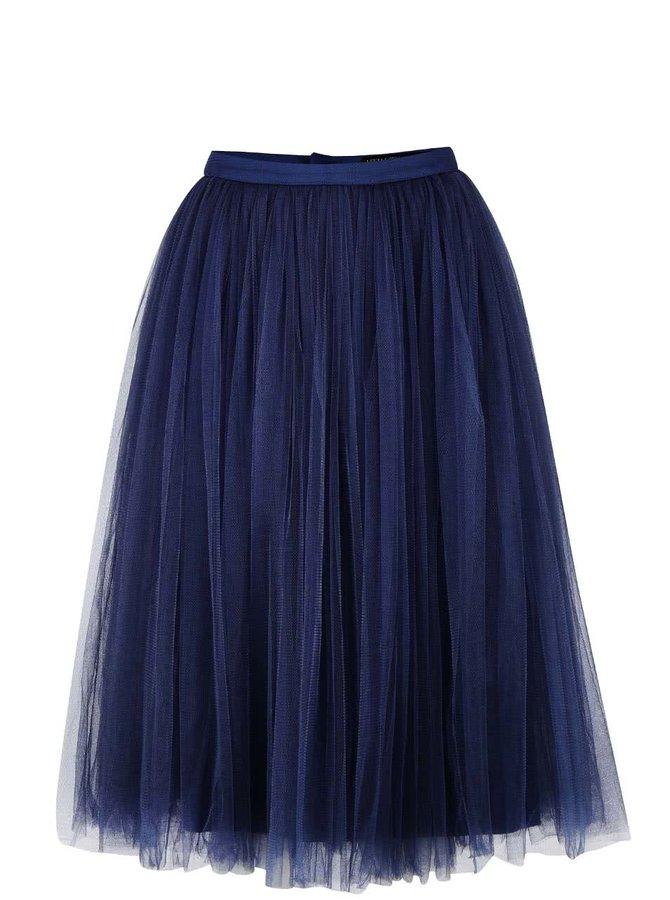 Tmavomodrá tylová midi sukňa Little Mistress