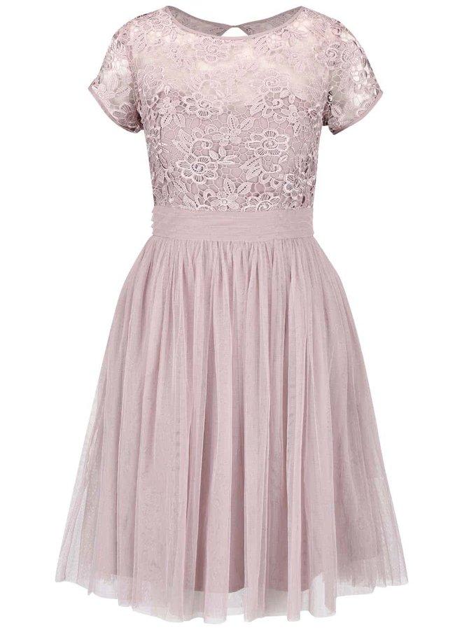 Starorůžové krajkové šaty s tylovou sukní Little Mistress