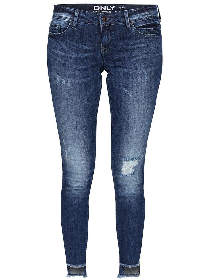 Modré skinny džíny s roztřepenými nohavicemi ONLY Coral