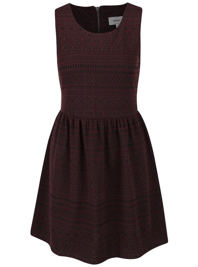 Vínové šaty s jemným vzorom ONLY Charlene