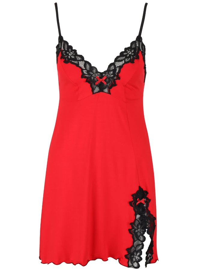 Červená nočná košeľa s čiernou čipkou Eldar Roma