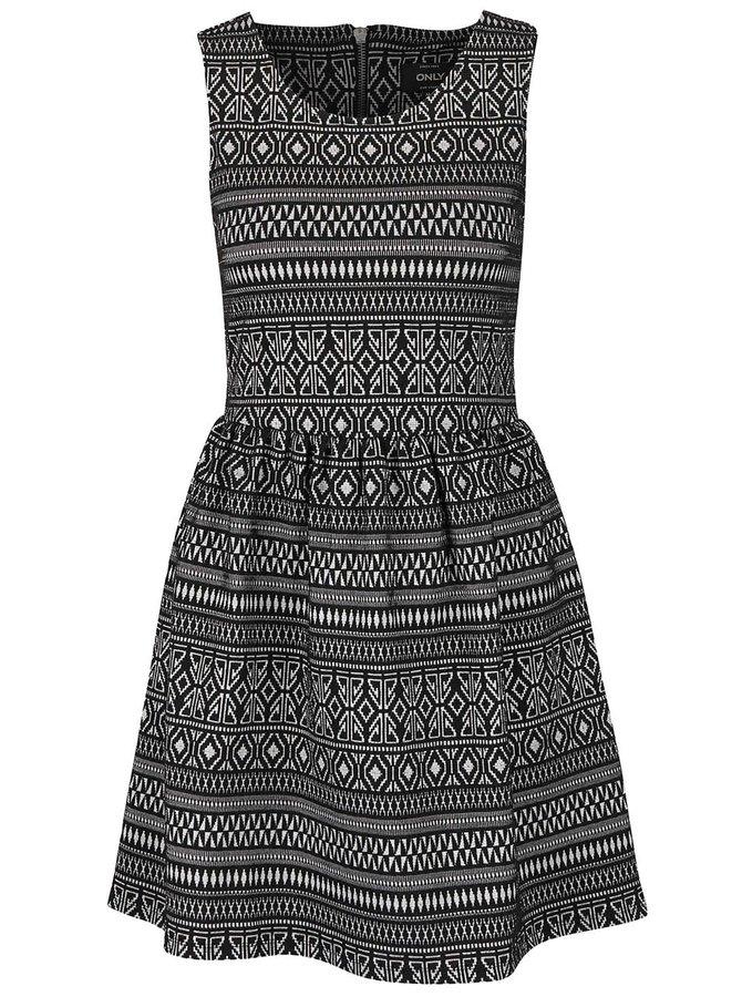 Čierne šaty s jemným vzorom ONLY Charlene