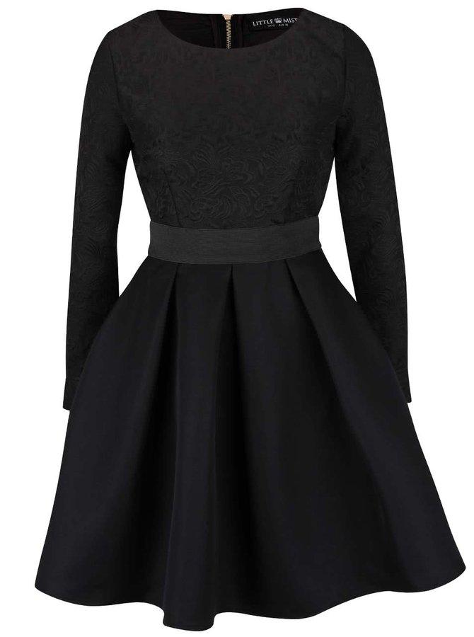 Čierne šaty s dlhými rukávmi a prekladanou sukňou Little Mistress