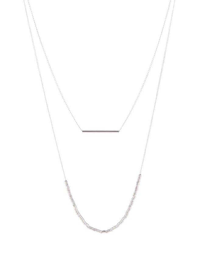 Kaskádovitý náhrdelník v striebornej farbe Pieces Peru