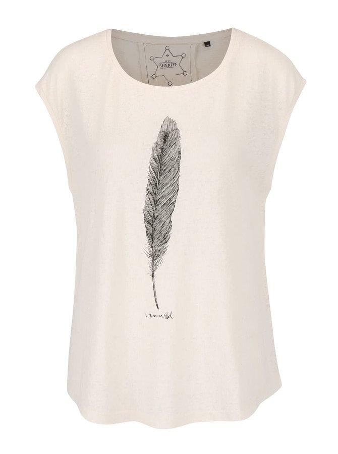 Krémové tričko s bez rukávov s potlačou ONLY Madeline