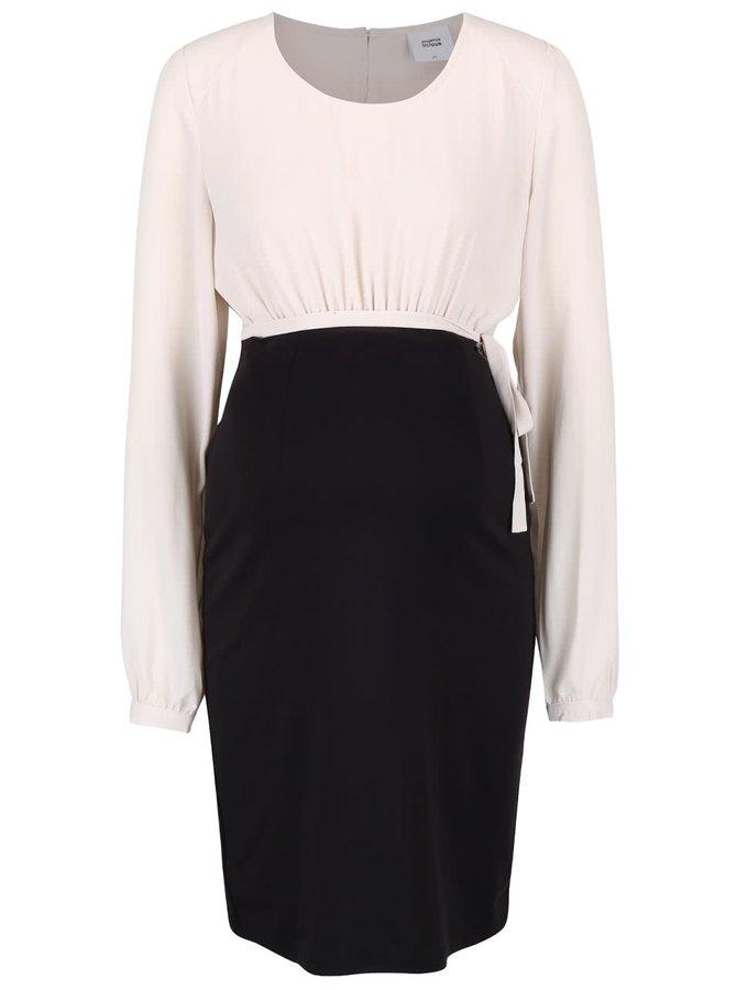 Krémovo-čierne tehotenské jersey šaty Mama.licious Liv