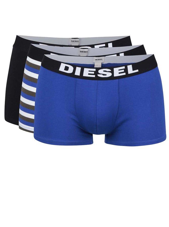 Sada tří boxerek v modré, černé a modro-krémové barvě Diesel
