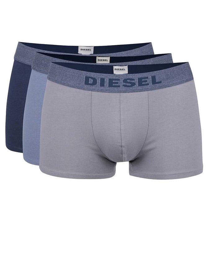 Sada tří boxerek v šedé,  tmavě modré a světle modré barvě Diesel