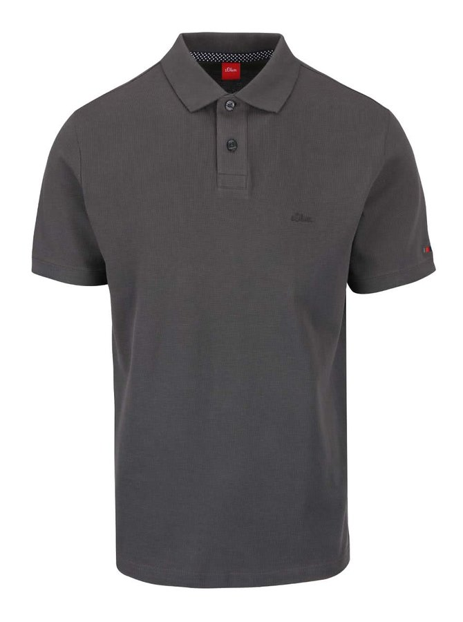 Tricou polo gri închis s.Oliver din bumbac