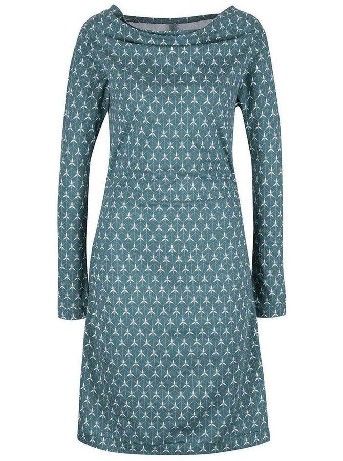Zelené vzorované šaty s voľným výstrihom Tranquillo Christa