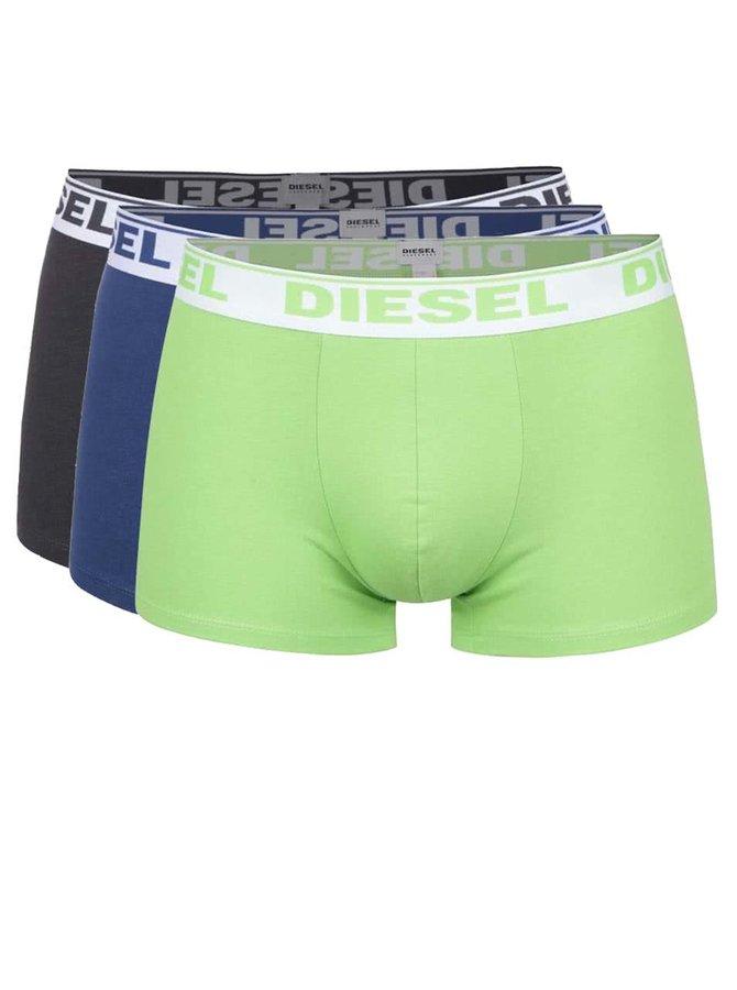 Sada tří boxerek v zelené, modré a šedé barvě Diesel