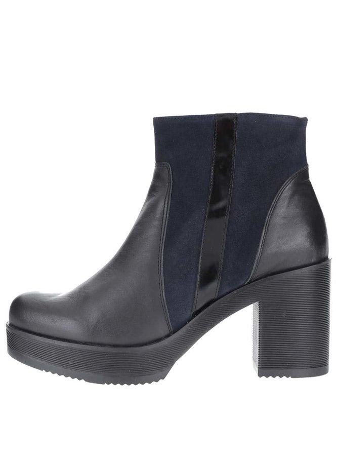Modro-čierne kožené členkové topánky so semišovými detailmi OJJU