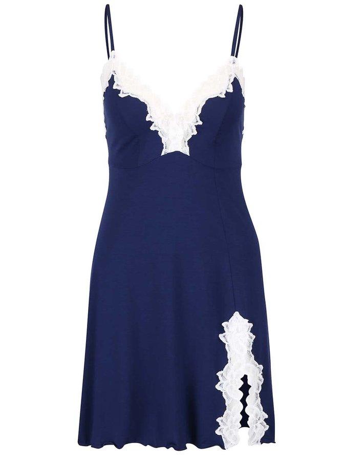 Modrá nočná košeľa s bielou čipkou Eldar Roma