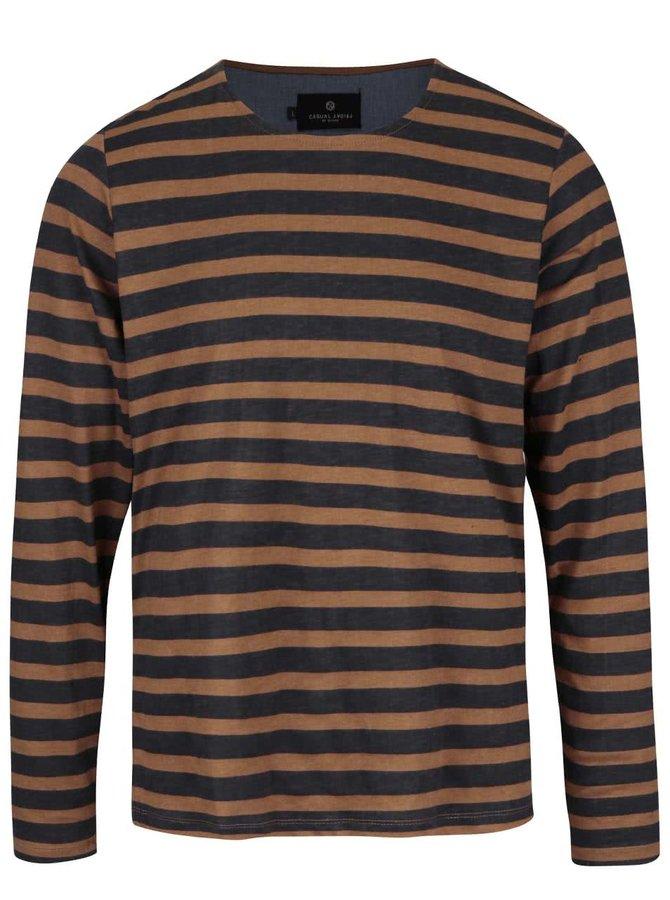 Hnedé pruhované tričko s dlhým rukávom Casual Friday