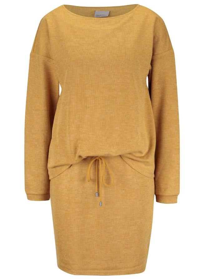 Hořčicové šaty s dlouhým rukávem VERO MODA Nora
