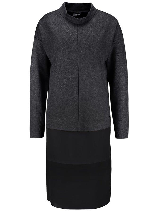 Tmavosivý melírovaný dlhý sveter Vero Moda Nora