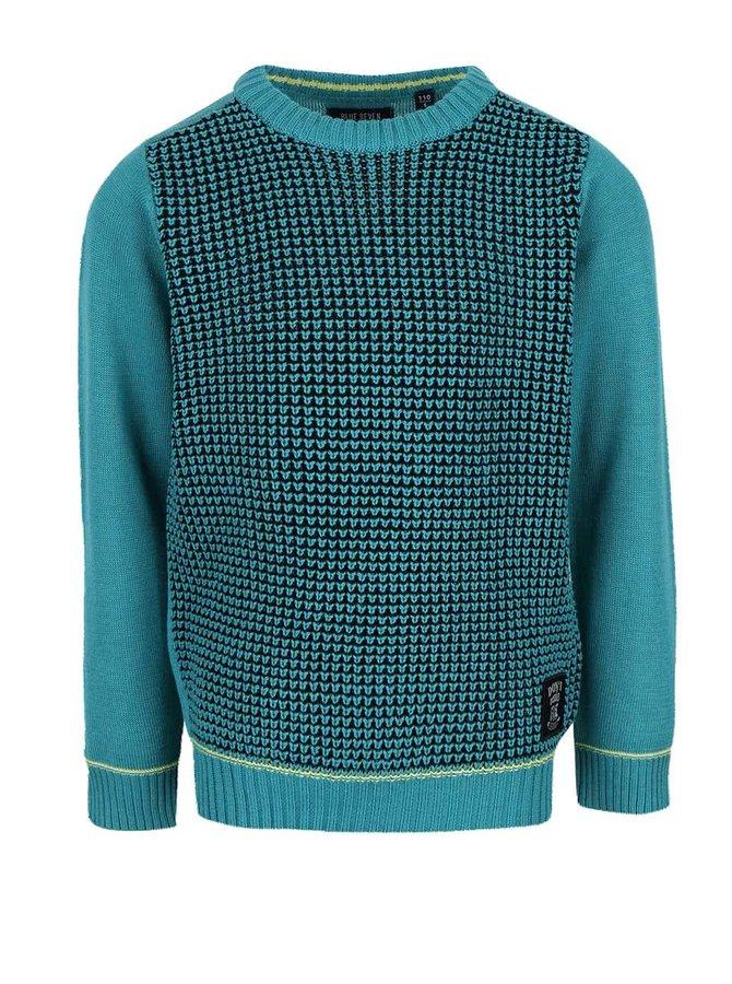 Pulover turcoaz Blue Seven cu model discret pentru băieți