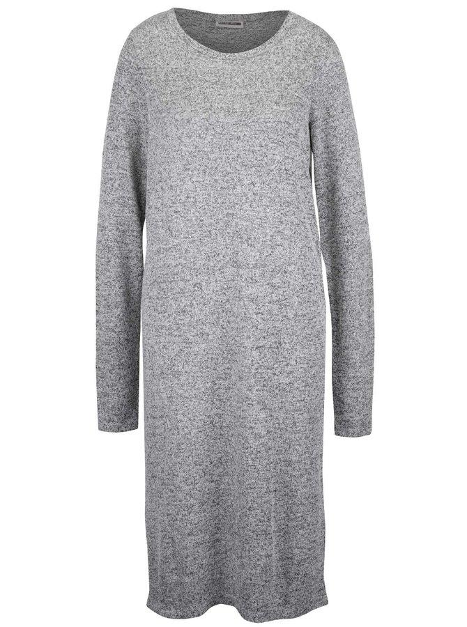Šedé dlouhé žíhané svetrové šaty Noisy May Peach