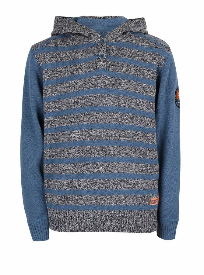 Modro-sivý chlapčenský pruhovaný sveter s kapucňou Blue Seven