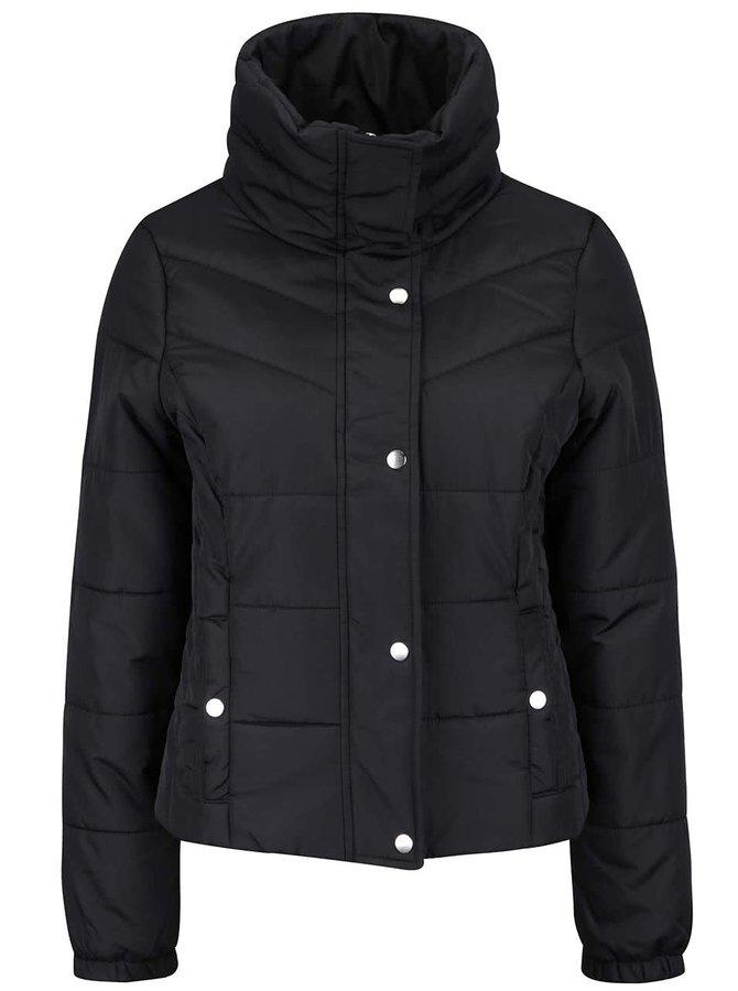 Čierna prešívaná bunda s vysokým golierom VERO MODA Papette