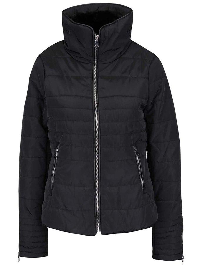 Čierna prešívaná bunda na zips s vysokým golierom VERO MODA Lulu
