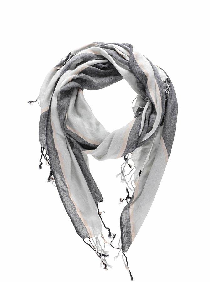 Šedý pruhovaný šátek s třásněmi VERO MODA Sandy