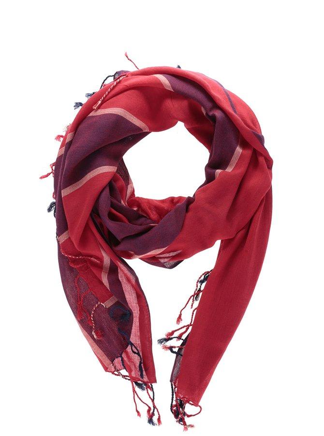 Vínovo-červená pruhovaná šatka VERO MODA Sandy