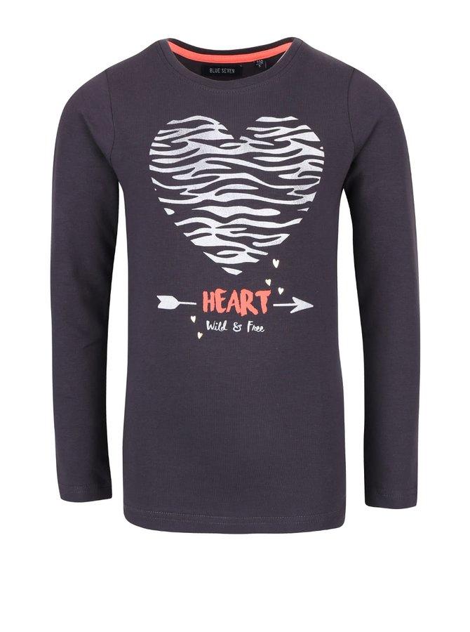 Tmavosivé dievčenské tričko s potlačou a dlhým rukávom Blue Seven