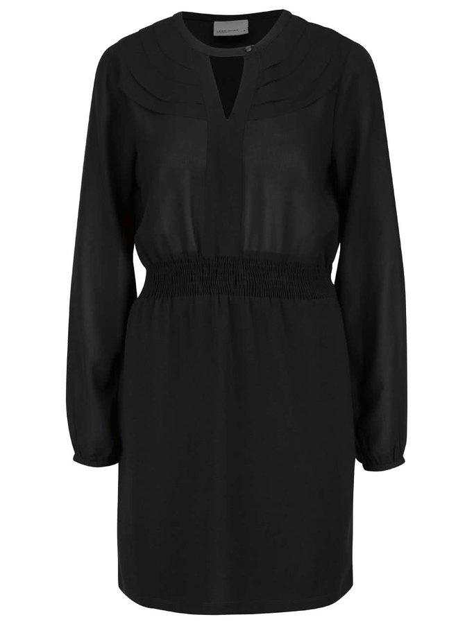 Černé šaty s dlouhým rukávem a knoflíkem v dekoltu VERO MODA Lova