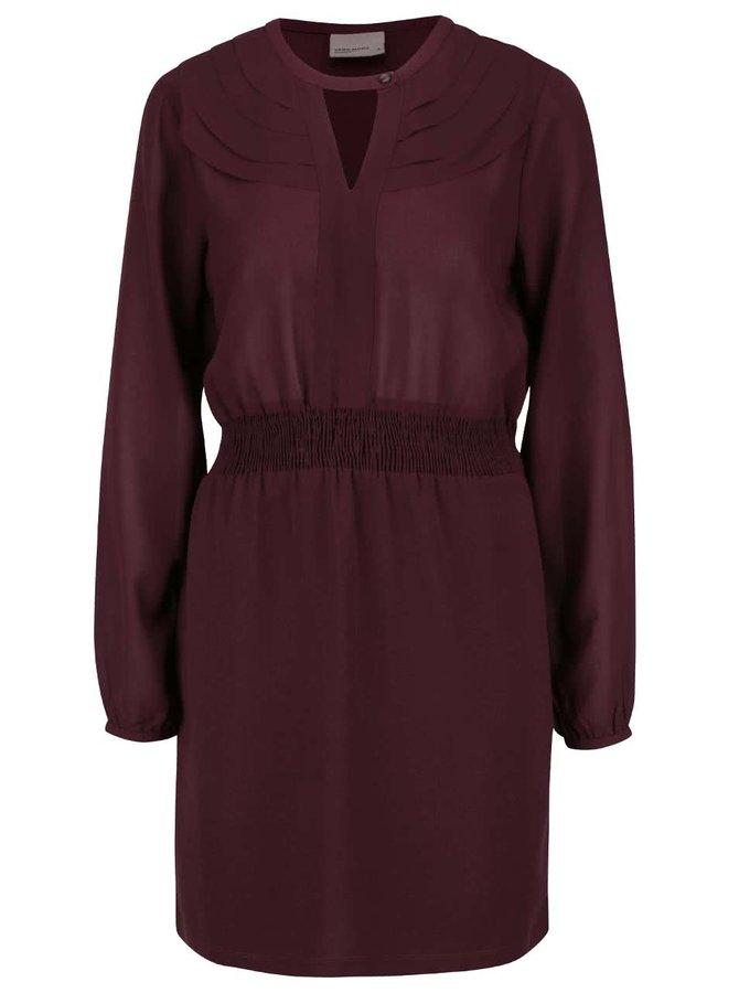 Vínové šaty s dlouhým rukávem a knoflíkem v dekoltu VERO MODA Lova