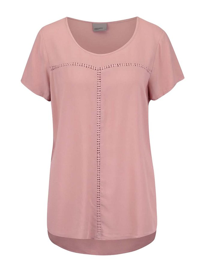 Tricou roz VERO MODA Tee asimetric