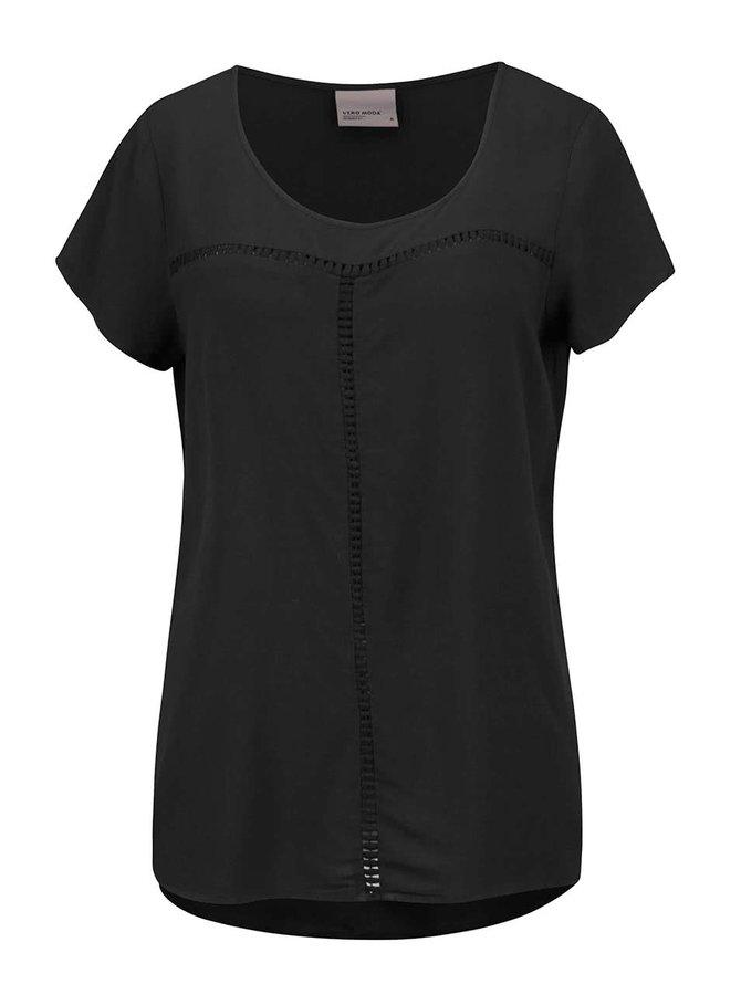 Tricou negru Vero Moda Tee asimetric