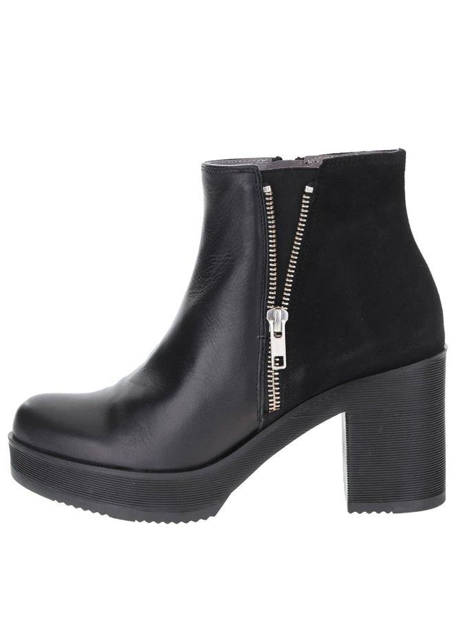Černé kožené kotníkové boty se semišovým detailem OJJU
