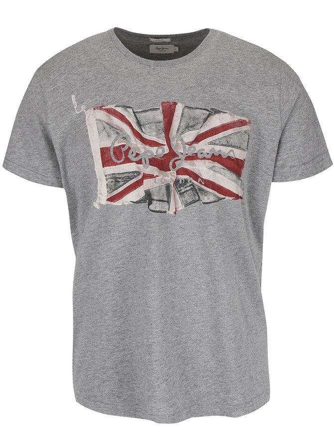 Sivé pánske tričko s potlačou Pepe Jeans Flag logo
