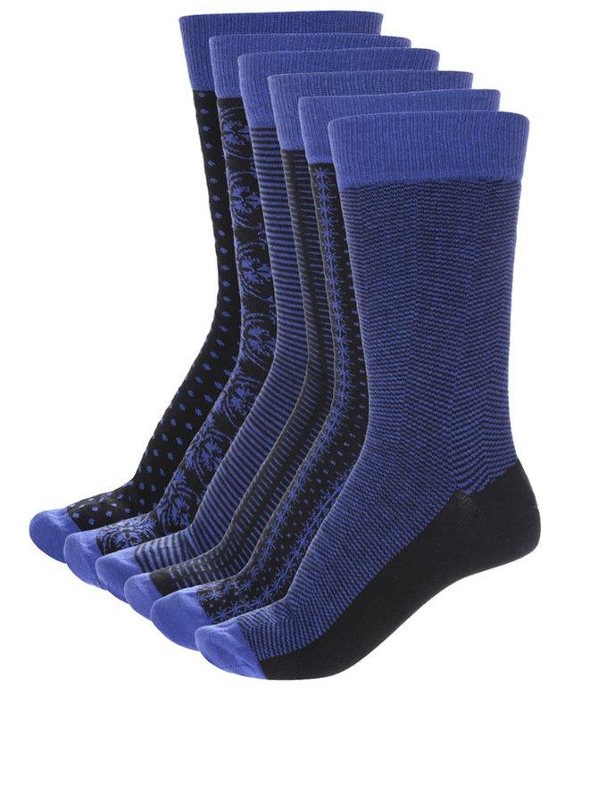 Kolekcia šiestich pánskych vzorovaných ponožiek v čiernej a modrej farbe Oddsocks Suit