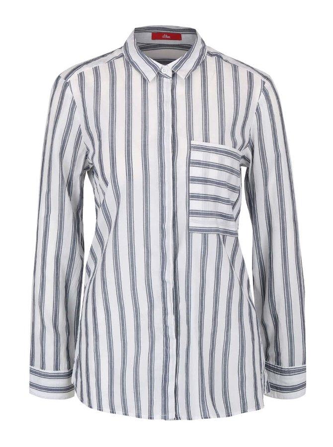 Šedo-krémová dámská pruhovaná košile s.Oliver