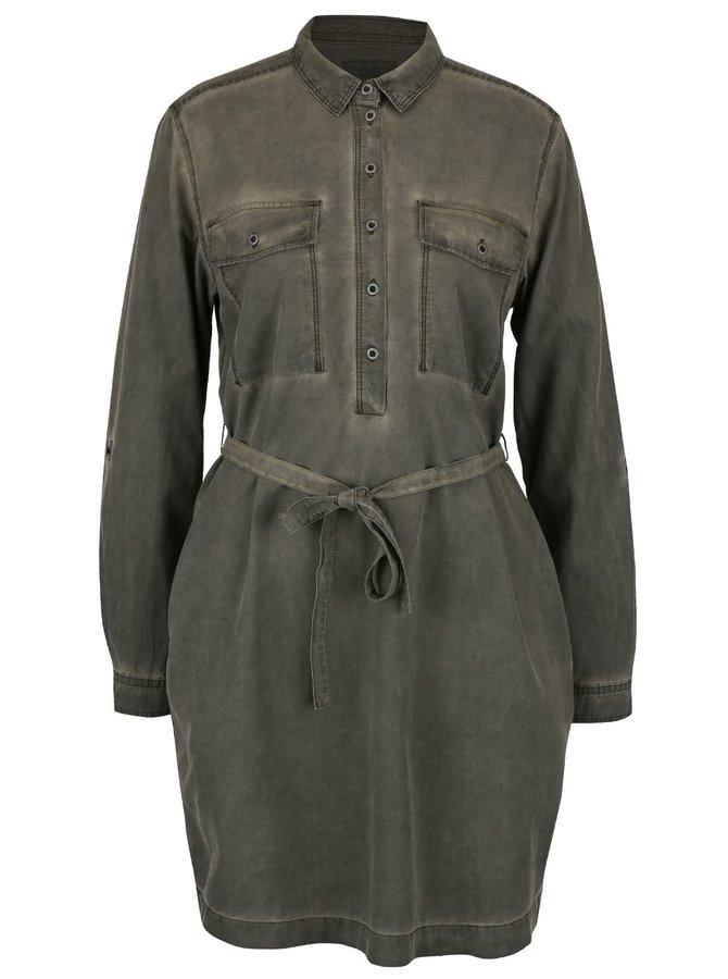 Khaki šaty s páskem QS by s.Oliver