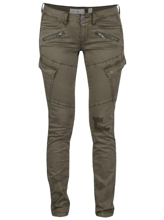 Kaki dámske nohavice s vreckami QS by s.Oliver