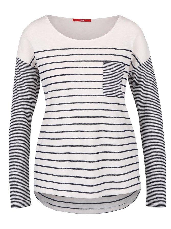 Krémové dámské pruhované tričko s dlouhým rukávem s.Oliver