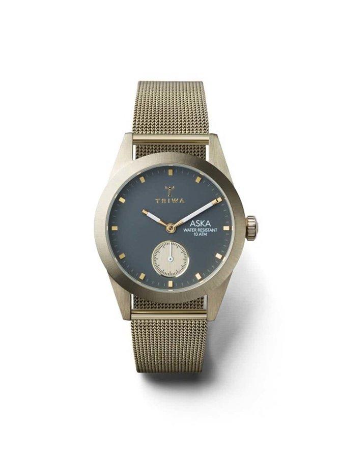 Dámske hodinky v zlatej farbe s nerezovým remienkom TRIWA Ash Aska