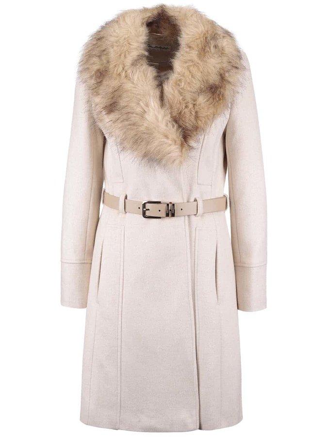 Béžový kabát s páskem a umělým kožíškem Miss Selfridge