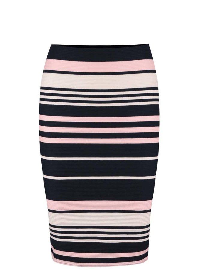 Tmavomodrá pruhovaná sukňa Miss Selfridge