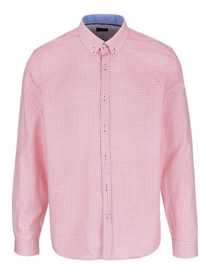 Krémovo-růžová vzorovaná košile Burton Menswear London