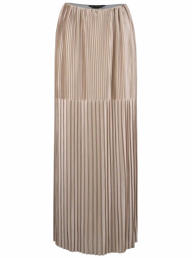Plisovaná maxi sukňa v zlatej farbe Miss Selfridge