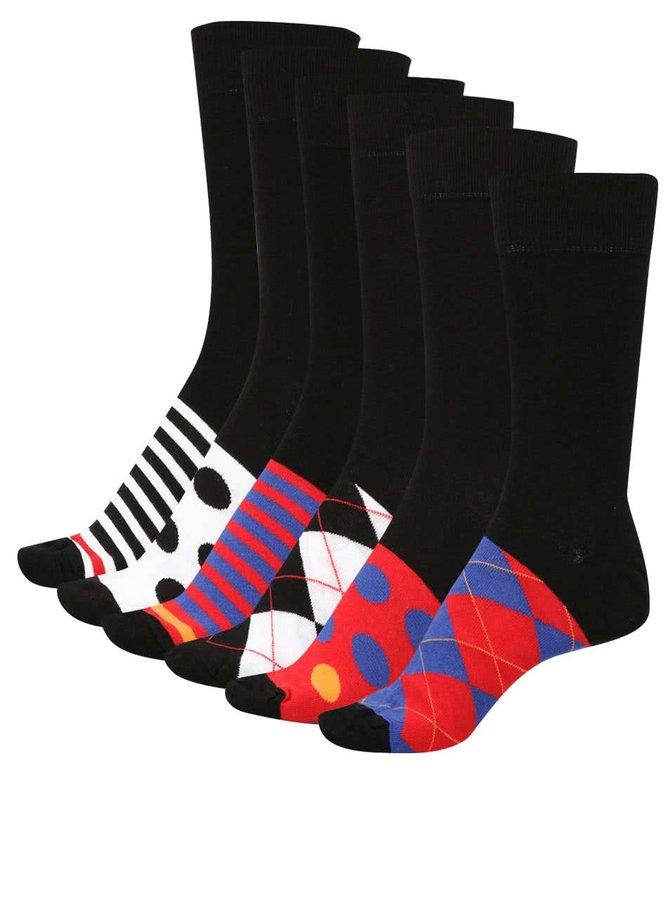 Sada šesti černých pánských vzorovaných ponožek Oddsocks